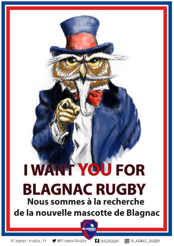 Affiche recrutement mascotte Blagnac Rugby